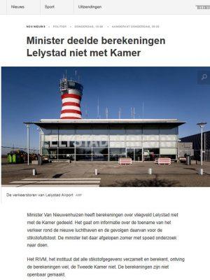 NOS 7-2-20 Minister deelde berekeningen Lelystad niet met de kamer