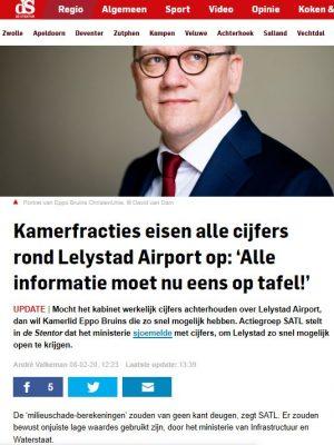 Stentor 8-2-20-5 Kamerfracties eisen alle cijfers rond Lelystad Airport op